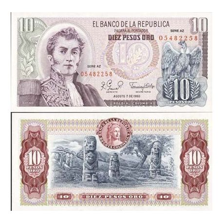 Billets de collection Billets de banque Colombie Pk N° 407 - 10 Pesos Billets de Colombie 4,00 €