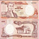 Banknoten Sammlung Kolumbien Pick Nummer 426 - 100 Peso 1982
