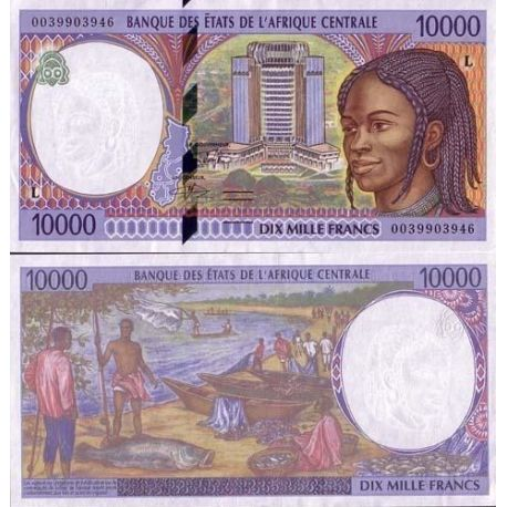 Central Africa Gabon - Pk # 405 - 10000 Franks ticket