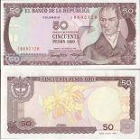 Sammlung von Banknoten Kolumbien Pick Nummer 425 - 50 Peso 1982