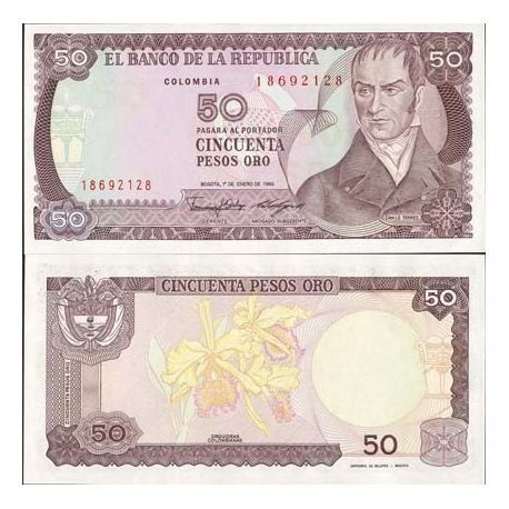 Billets de collection Billet de banque Colombie Pk N° 425 - 50 Pesos Billets de Colombie 4,00 €