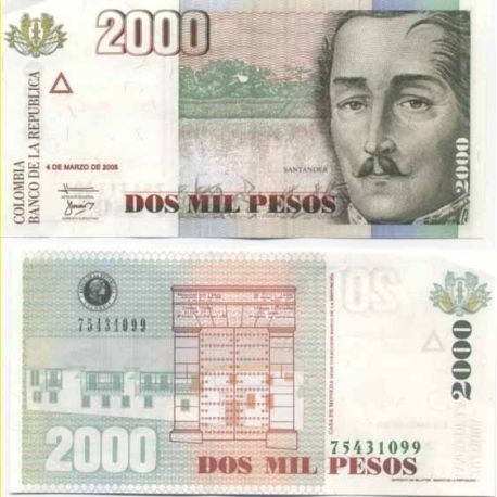 Billets de collection Billet de banque Colombie Pk N° 451 - 2000 Pesos Billets de Colombie 5,00 €