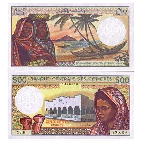 Billets banque Comores Pk N° 10 - 500 Francs