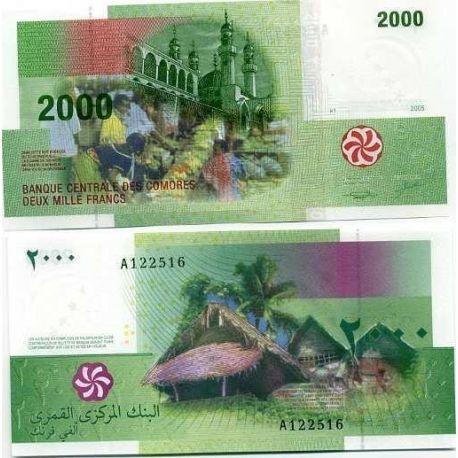 Billets banque Comores Pk N° 17 - 2000 Francs