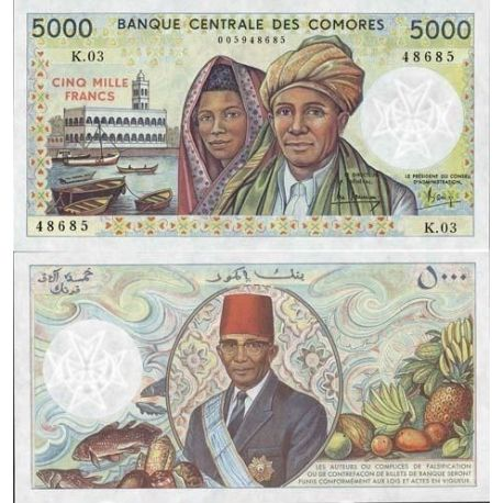 Billets de collection Billet de banque Comores Pk N° 12 - 5000 Francs Billets des Comores 92,00 €