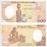 Banknoten Sammlung Kongo Pick Nummer 8 - 500 FRANC 1985