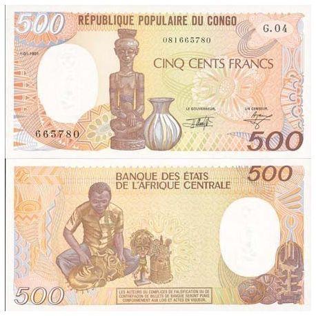 Billets de collection Billets de banque Congo Pk N° 8 - 500 Francs Billets du Congo 9,00 €