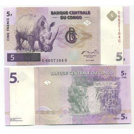 Billets collection Congo Pk N° 86 - 5 Francs