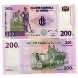 Schone Banknote Kongo Pick Nummer 95 - 200 FRANC 2000