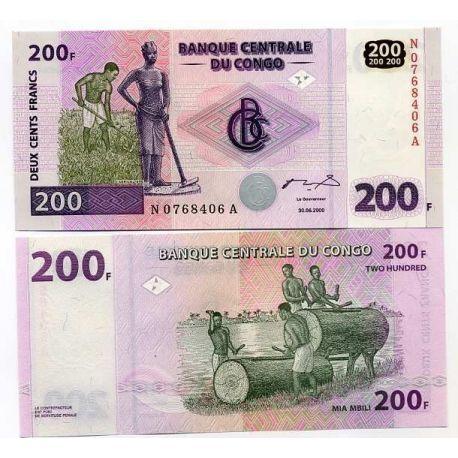 Billets de collection Billets banque Congo Pk N° 95 - 200 Franc Billets du Congo 7,00 €