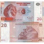 Banknoten Kongo Pick Nummer 88 - 20 FRANC 1997