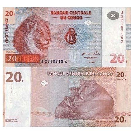 Billets de collection Billets banque Congo Pk N° 88 - 20 Francs Billets du Congo 10,00 €