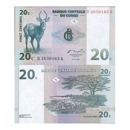 Billets de collection Billets de banque Congo Pk N° 83 - 20 Centimes Billets du Congo 1,50 €