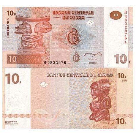 Kongo - Pk Nr. 93-10 Franken banknote