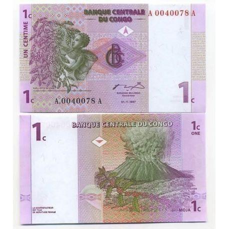 Billets de collection Billet de banque CONGO Pk N° 80 - 1 Centime Billets du Congo 1,50 €