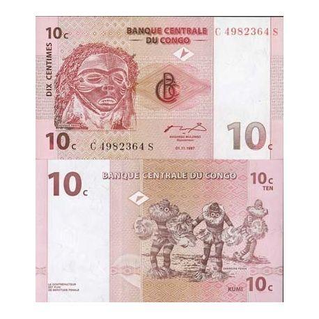 Billets de collection Billets banque Congo Pk N° 82 - 10 Centimes Billets du Congo 1,50 €
