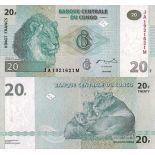 Beautiful banknote Congo Pick number 94 - 20 FRANC 2003