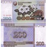 Colección de billetes Corea Del Norte Pick número 48 - 200 Won 2005