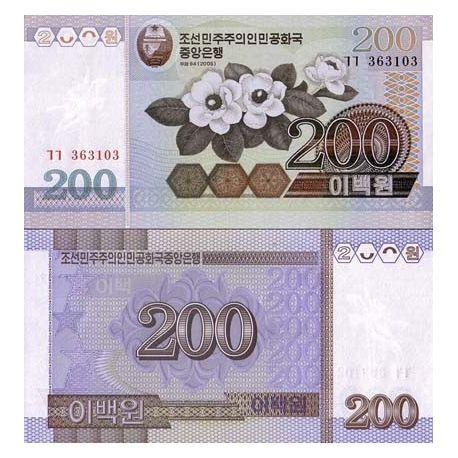 Billets de collection Billets collection Coree Nord Pk N° 48 - 200 Won Billets de Coree Nord 1,00 €