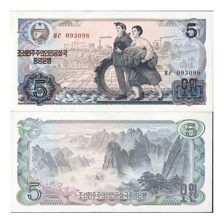 Coree Nord - Pk N° 19 - Billet de 5 Won