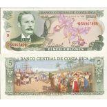 Colección de billetes Costa Rica Pick número 236 - 5 Colon 1968