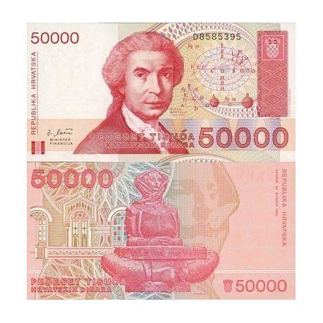 Billet de banque Croatie Pk N° 26 - 50000 Dinara