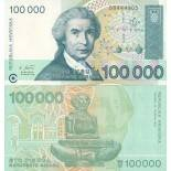 Collection of Banknote Croatia Pick number 27 - 100000 Dinar 1991