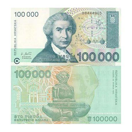 Billets banque Croatie Pk N° 27 - 100000 Dinara