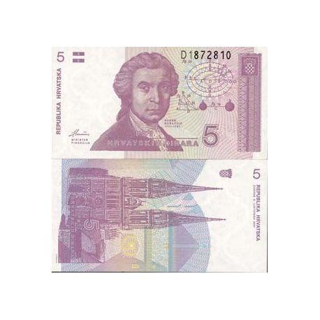 Croatie - Pk N° 17 - Billet de 5 Dinars