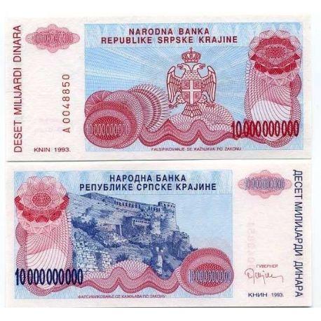 Croatie (Serbie) - Pk N° 28 - Billet de 10 Milliar Dinara