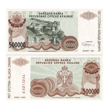 Billets de collection Billet de banque Rep. Serbe de Krajina Pk N° 23 - 500000000 Dinara Billets de Croatie (Serbie) 5,00 €