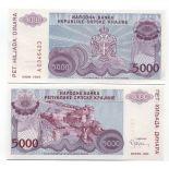 Billets de banque Rep. Serbe de Krajina Pk N° 20 - 5000 Dinara