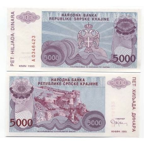 Billets de collection Billets de banque Rep. Serbe de Krajina Pk N° 20 - 5000 Dinara Billets de Croatie (Serbie) 4,00 €