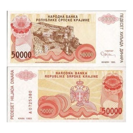 Billets de collection Billets collection Rep. Serbe de Krajina Pk N° 21 - 50000 Dinara Billets de Croatie (Serbie) 1,50 €