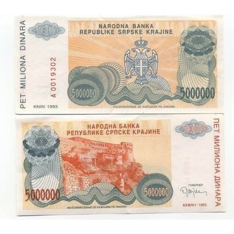 Billets de collection Billet de banque Rep. Serbe de Krajina Pk N° 24 - 5 MIL Dinara Billets de Croatie (Serbie) 5,00 €