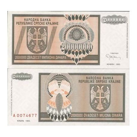 Billets de collection Billets banque Rep. Serbe de Krajina Pk N° 13 - 20 MIL Dinara Billets de Croatie (Serbie) 4,00 €