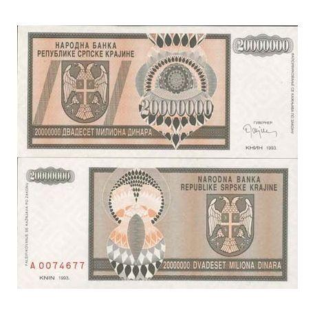 Croatie (Serbie) - Pk N° 13 - Billet de 20 MIL Dinara