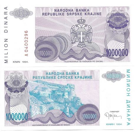 Billets de collection Billet de collection Rep. Serbe de Krajina Pk N° 33 - 1 MIL Dinara Billets de Croatie (Serbie) 5,50 €