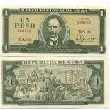 Schone Banknote Kuba Pick Nummer 102 - 1 Peso 1967