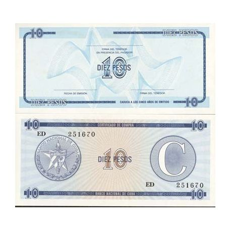 Billets de collection Billet de collection Cuba Pk N° 22 - 10 Pesos Billets de Cuba 2,00 €