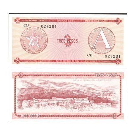 Cuba - Pk No. 2 - 3 ticket Pesos