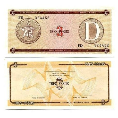 Billets de collection Billets collection Cuba Pk N° 28 - 3 Pesos Billets de Cuba 2,00 €
