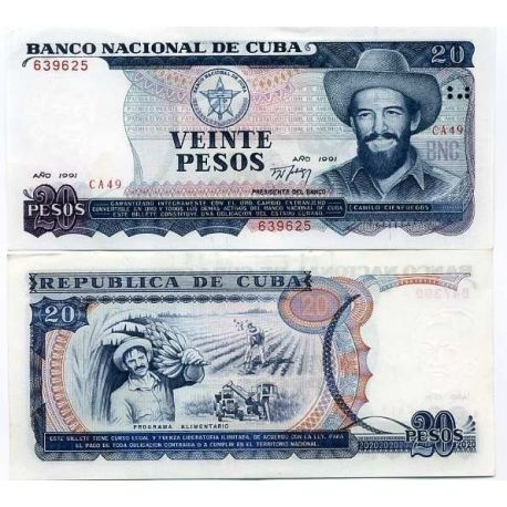 Billets de collection Billet de banque Cuba Pk N° 110 - 20 Pesos Billets de Cuba 9,00 €