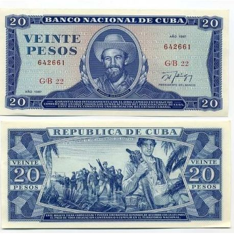 Billets de collection Billet de banque Cuba Pk N° 105 - 20 Pesos Billets de Cuba 19,00 €