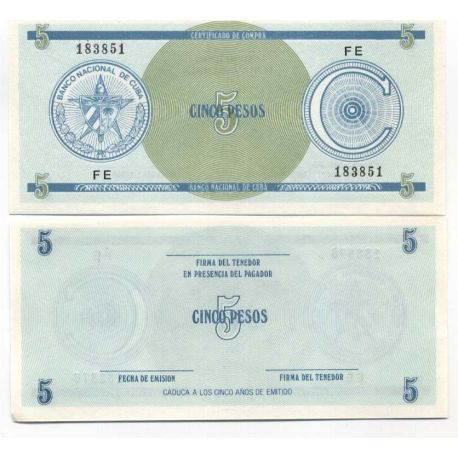Billets de collection Billet de collection Cuba Pk N° 13 - 5 Pesos Billets de Cuba 2,00 €