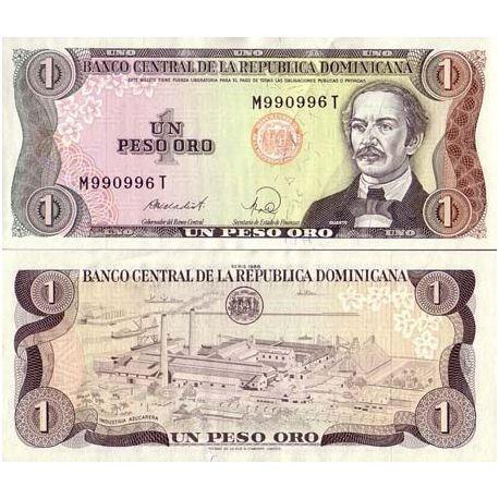 Dominikanische ges? ¤ ttigt. -Pk Nr. 126-1-Peso-banknote
