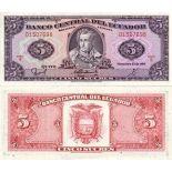 Beautiful banknote Ecuador Pick number 113 - 5 Sucre 1957