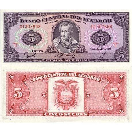 Billets de collection Billets de banque Equateur Pk N° 113 - 5 Sucres Billets de l'équateur 2,50 €