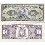 Banknote Ecuador Pick number 123 - 100 Sucre 1984