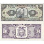 Billets banque Equateur Pk N° 123 - 100 Sucres